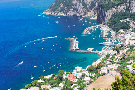 view of beautiful Marina Grande habour from above, Capri island, Italy