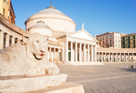 Close up details of Piazza del Plebiscito, Naples Italy
