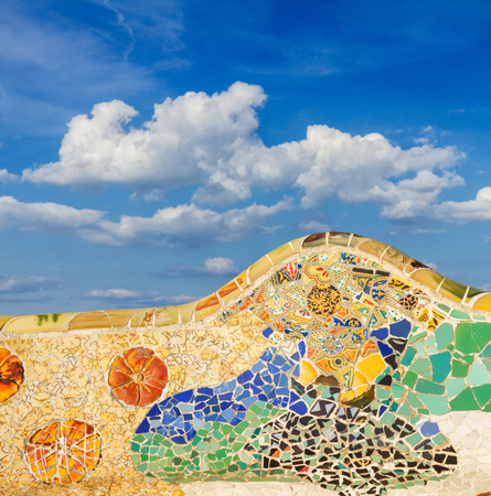 detail of famous colorful mosaic bench of park Guell, Barcelona, Spain Reklamní fotografie - 90833684