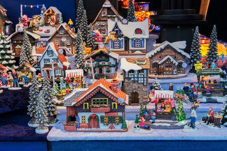 Christmas market kiosk details - coloful traditional german houses