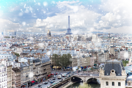 Skyline of Paris city with blue sky at winter, France 写真素材