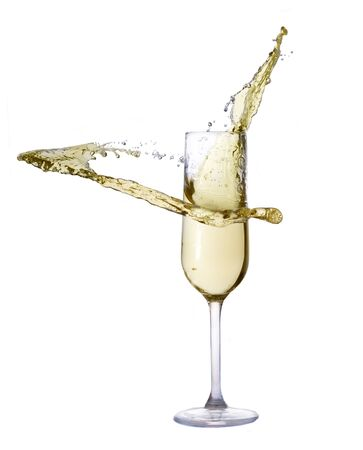 Festive champagne glass with splash isolated on white background