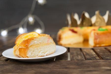 piece of Roscon de Reyes traditional spanish cake for Epiphany festivites