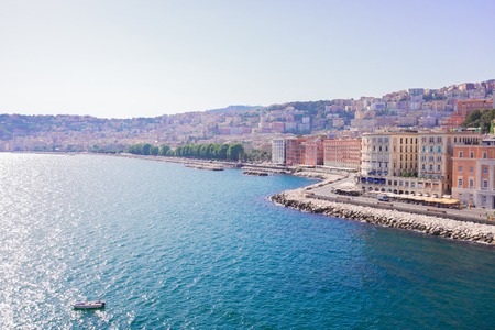 View of Naples sea embankment at summer, Italy