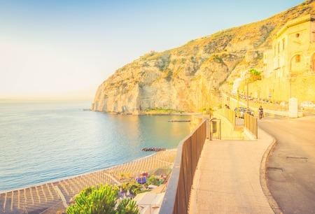 embankment and beach of Meta di Sorrento, southern Italy, retro toned
