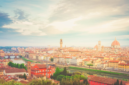 morning cityline of Florence old town from above, Italy, retro toned