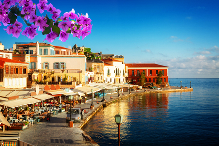bay of Chania at sunny summer day, Crete Greece with flowers Banco de Imagens - 94901297