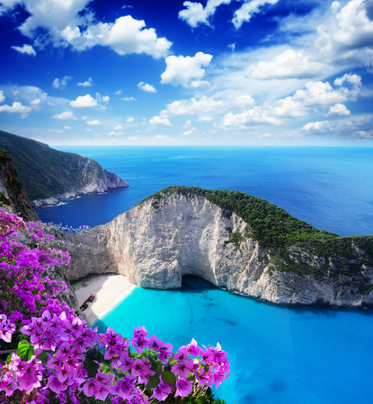 Navagio beach, famous lanscape of Zakinthos island, Greece with flowers Stock Photo