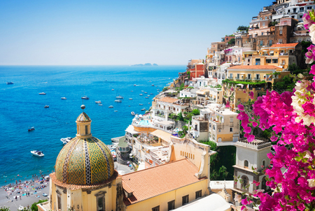 view of Positano with flowers - famous old italian resort, Italy Stok Fotoğraf