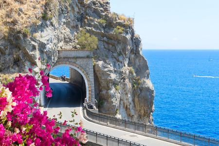 famous picturesque road of Amalfi coast with flowers, Italy Zdjęcie Seryjne