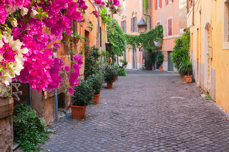 view of old town italian street in Trastevere with flowers, Rome, Italy