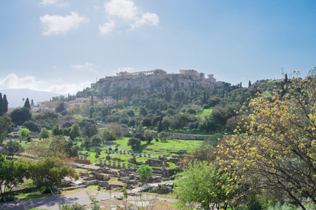 Famous skyline of Athens with Acropolis hill and The Ancient Agora site, Athens Greece