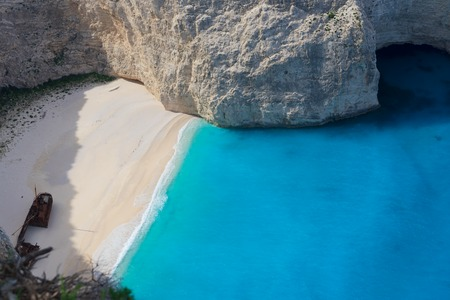 view of Navagio beach, famous natural lanscape of Zakinthos island, Greece