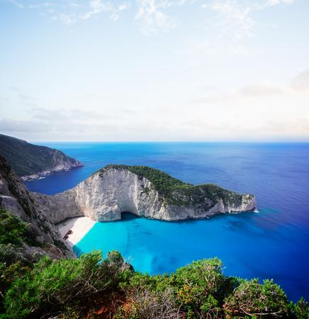 Navagio beach, famous summer holiday landscape of Zakinthos island, Greece