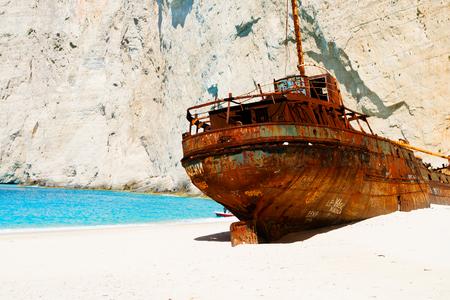 Navagio Shipwreak beach with rusty old ship of Zakinthos island, Greece, retro toned Stock Photo
