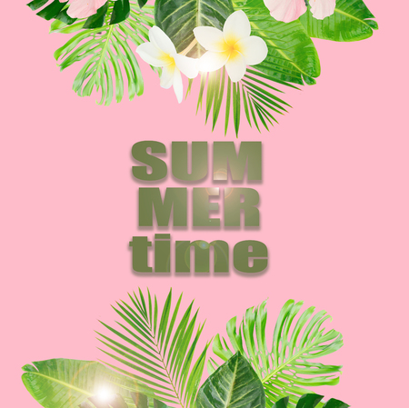 Tropical green leaves and flowers borders on pink background with copy space Stock Photo