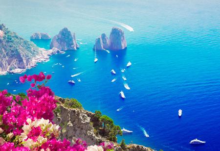 Famous Faraglioni cliffs and Tyrrhenian Sea with flowers, Capri island, Italy