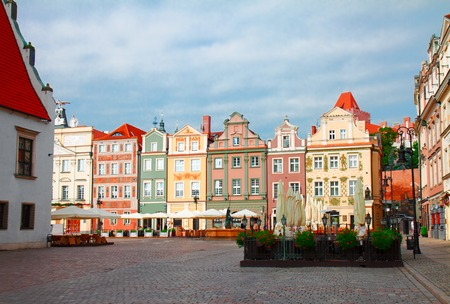renaissance houses on the central market square in old Poznan, Poland