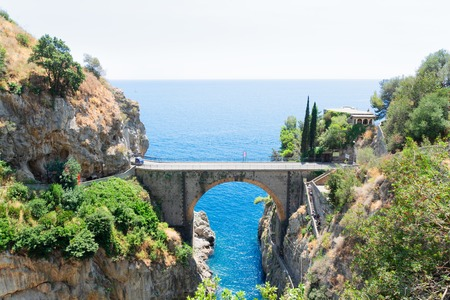 famous picturesque road viaduct of Amalfitana summer coast, Italy Stock Photo
