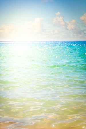 abstract calm clear blue sea with sunshine background, Tenerife, Canarias toned image 写真素材