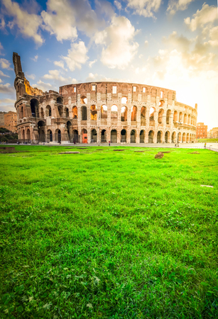 ruins of antique Colosseum in sunise lights, Rome Italy , toned image