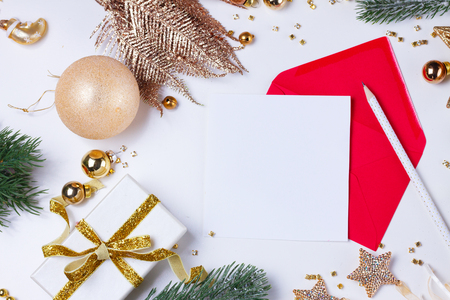 christmas flat lay letter to santa claus letter with golden decorations copy space on white - Christmas Letter Decorations