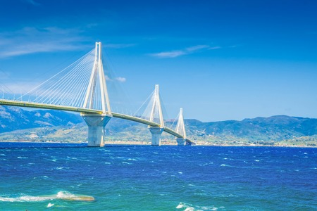 Rio Antirrio bridge and Mediterranean sea in Patras, Greece, retro toned