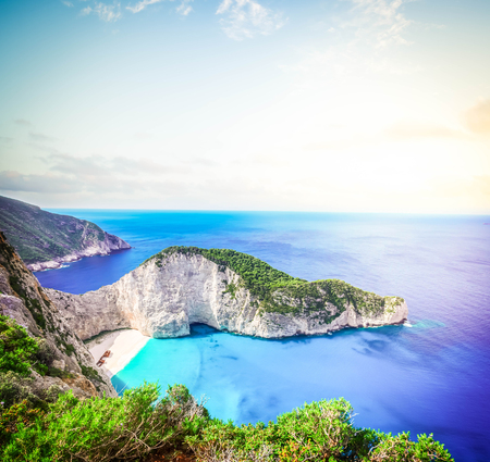 Navagio beach, famous summer holiday landscape of Zakinthos island, Greece, retro toned Stock Photo