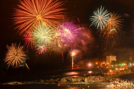 celebrating noche de San Juan, popular summer holiday in Puerto de la Cruz, Tenerife island, Spain 写真素材