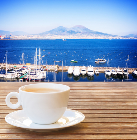 cup of coffee with view of Vesuvius in Naples