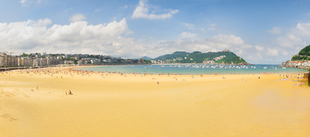 panorama of San Sebastian beach Concha, Pais Vasco, Spain