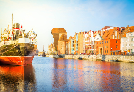 Motlawa quay and old Gdansk at day, Poland, retro toned