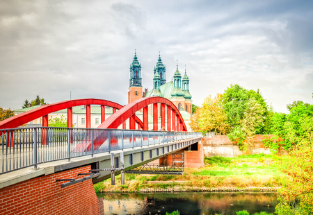 Jordan bishop Bridge and old cathedral church , Poznan, Poland, retro toned