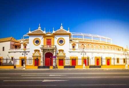 The bull arena of Seville across the street, Spain, toned