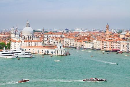 above view of Basilica Santa Maria della Salute and Grand Canal, Venice, Italy