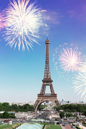 view of Eiffel Tower and Paris cityscape with fireworks, France