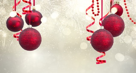 Christmas Ball Garland.Red Christmas Balls Garland On Festive Silver Background Banner