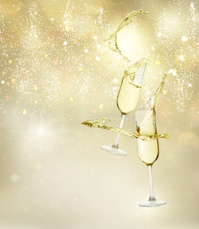 Two festive champagne glasses levitating on golden bokeh  with lights