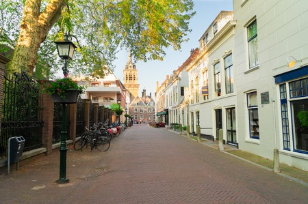 Street in old town of The Hague, Holland Stok Fotoğraf