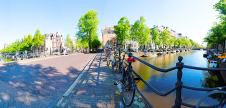 panorama of the historical houses of Amsterdam Netherlands, canal ring landmark in old european city, Amsterdam Stockfoto