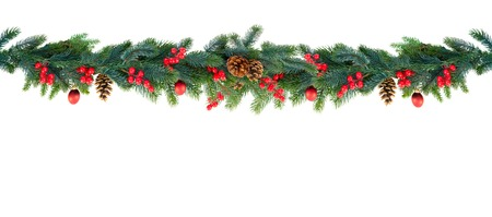 Christmas garland of evergreen tree isolated white background