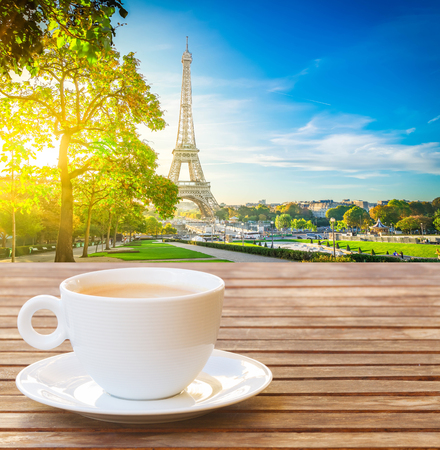 cup of coffee with view of famous Eiffel Tower landmark and garden, Paris France