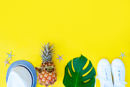 Summer flat lay border with fresh green leaves, cocnut and shoes with copy space Stock Photo