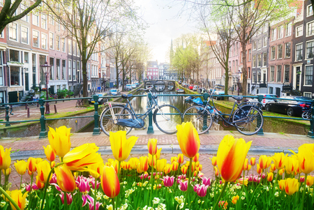 Two bicycles standing next to canal in Amsterdam at spring day, Netherlands