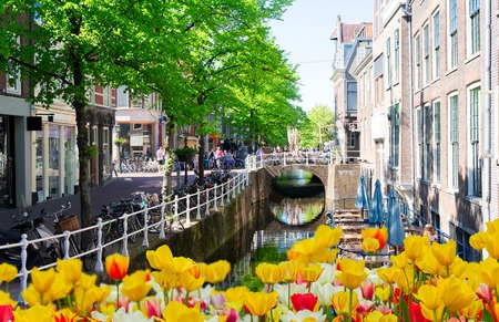 Street with canal in Delft, historical old town at spring in Holland