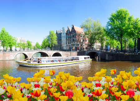Houses of Amsterdam Netherlands at spring with boat and tulips, Amsterdam spring scenery Stockfoto