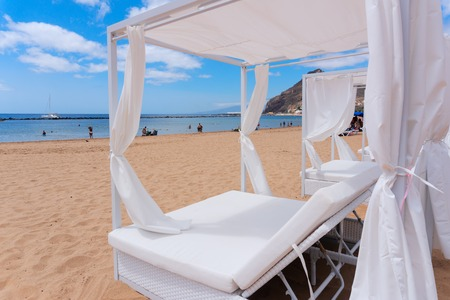 Relaxation area. Spa on the beach with spa bed Stock Photo