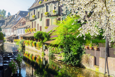 Details of Colmar Petit Venice district, most famous town of Alsace, France at spring