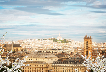 Cityscape of Paris above with Mont Matre district at spring, France
