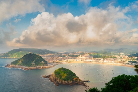 San Sebastian harbor aerial view, Pais Vasco, Spain